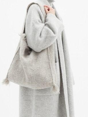 LAUREN MANOOGIAN Bindle fringe-trimmed alpaca and wool tote bag | grey woven shoulder bags | boho handbag - flipped