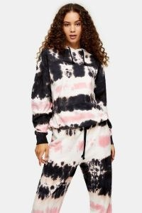 TOPSHOP Black And Pink Tie Dye Print Hoodie / pullover hoodies / hooded tops