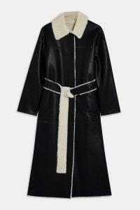 TOPSHOP Black And White Reversible PU Coat ~ monochrome winter coats ~ faux leather / fur outerwear