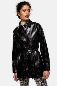TOPSHOP Black Belted Crocodile Shacket ~ croc effect shackets ~ tie waist animal embossed shirt-jackets