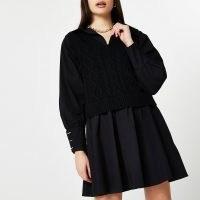River Island Black cable knit tank dress