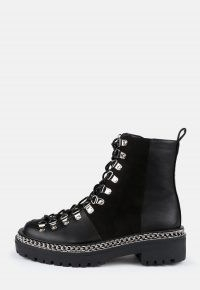 MISSGUIDED black chunky suede panel lace up boots