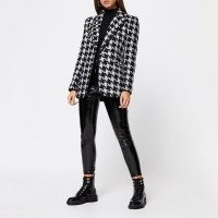 RIVER ISLAND Black dogtooth boucle blazer / large houndstooth checks