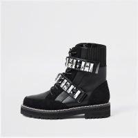 RIVER ISLAND Black embellished hiker boots