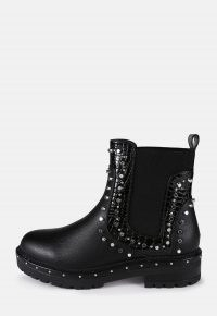 MISSGUIDED black extreme stud chelsea boots ~ studded pull on boot