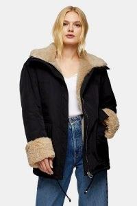 TOPSHOP Black Faux Fur Lined Nylon Parka Coat ~ modern classics ~ winter coats