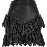 River Island Black faux leather cutwork frill mini skirt