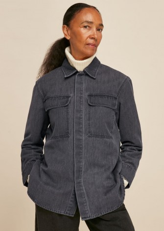 WHISTLES MASIE DENIM OVERSHIRT / casual organic cotton shirts - flipped
