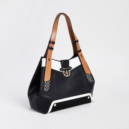 River Island Black RI monogram detail slouch bag - flipped