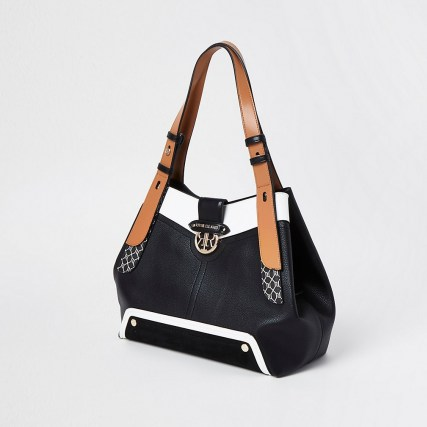 River Island Black RI monogram detail slouch bag