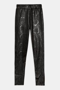 TOPSHOP Black Snake Leather Look Leggings
