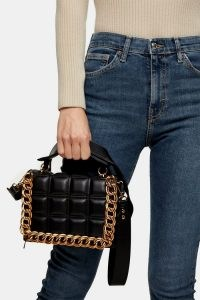 Topshop Black Webbed Chain Cross Body Bag | quilt detail bags | chunky chains on handbags | quilted top handle handbag
