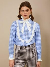 sister jane Giggle Gingham Bow Blouse Blue and White / ruffle trim checked blouses / high ruffled neck