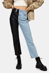 Topshop Bleach Colour Block Straight Jeans | colourblock denim