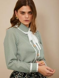 sister jane Golden Ticket Bow Shirt ~ green checked neck tie blouse