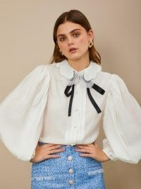 sister jane Grand Stand Bow Shirt ~ balloon sleeve blouses