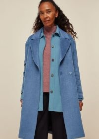 WHISTLES LANA DRAWN COCOON COAT / blue relaxed fit coats