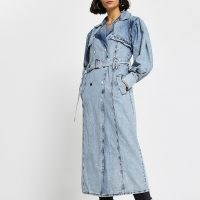 RIVER ISLAND Blue long sleeve denim trench jacket ~ casual longline jackets