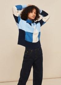 WHISTLES PATCHWORK FUNNEL NECK KNIT ~ blue colour block jumper