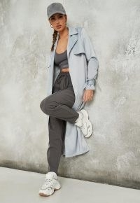 MISSGUIDED blue satin trench coat ~ belted coats