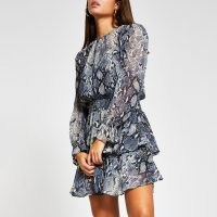 RIVER ISLAND Blue snake print dress / reptile prints / floaty ruffle detail dresses