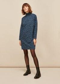 WHISTLES TIGER LEOPARD JERSEY DRESS / blue high neck winter dresses / animal print fashion