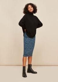 WHISTLES TIGER LEOPARD JERSEY SKIRT / blue animal print pencil skirts