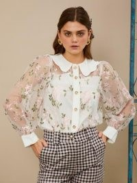 sister jane Dizzied Floral Embroidered Blouse / sheer blouses with removable cami