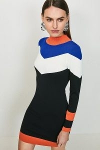 KAREN MILLEN Bold Colour Block Knit Dress / figure hugging dresses