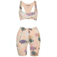 Oceanus Bonnie Cycling Shorts & Top Set / ocean inspired prints / sports workout sets / fish