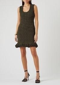 BOTTEGA VENETA Army green crochet-knit mini dress ~ designer knitwear ~ knitted evening dresses