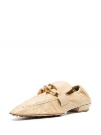 Bottega Veneta Madame moccasin loafers | luxe low heel loafer | beige point toe flats | horsebit detail shoes | pointy toes