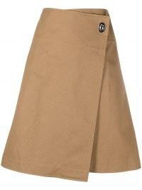 Bottega Veneta side fastening A-line skirt ~ light brown asymmetric wrap style skirts