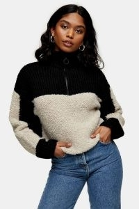 Topshop Boucle Zip Up Funnel Knitted Jumper
