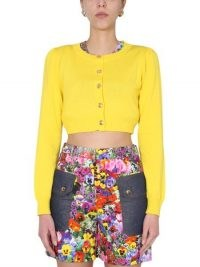 BOUTIQUE MOSCHINO CARDIGAN CROPPED IN MAGLIA DI COTONE | yellow crop hem cardigans