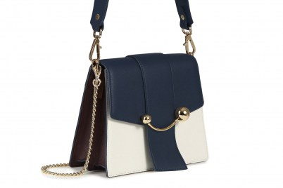 BOX CRESCENT NAVY/VANILLA/BURGUNDY | chic colour block bags