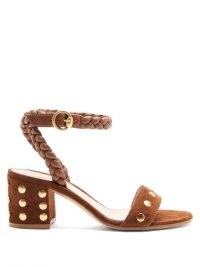 GIANVITO ROSSI 60 Braided-strap studded suede sandals ~ tan brown vintage look block heels ~ retro shoes