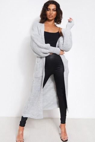 The Fashion Bible BREN GREY OVERSIZED BALLOON SLEEVE LONG MAXI CARDIGAN | slouchy longline cardigans - flipped