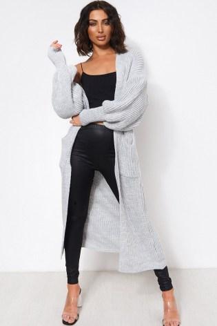 The Fashion Bible BREN GREY OVERSIZED BALLOON SLEEVE LONG MAXI CARDIGAN | slouchy longline cardigans