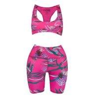 Oceanus Britney Cycling Shorts & Top Set Hot Pink