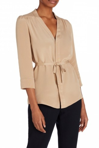 Goat BRITTANY WRAP SILK BLOUSE CARAMEL ~ light brown self tie blouses - flipped