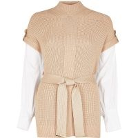 RIVER ISLAND Brown belted poplin sleeve knit top