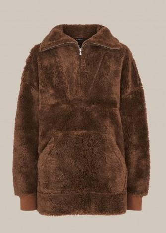 WHISTLES BORG HALF ZIP SWEATSHIRT / brown textured faux shearling sweat top - flipped