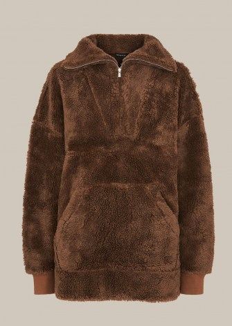 WHISTLES BORG HALF ZIP SWEATSHIRT / brown textured faux shearling sweat top