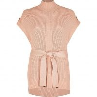 RIVER ISLAND Brown knitted sleeveless belted jumper