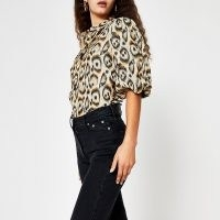 River Island Brown leopard print balloon sleeve shirt | wild animal prints | volume sleeved shirts