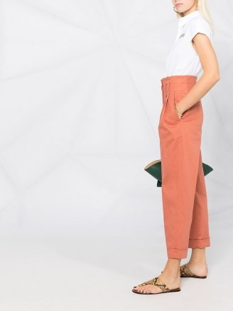 Brunello Cucinelli cropped straight-leg trousers canyon clay orange ~ chic high waist pants - flipped