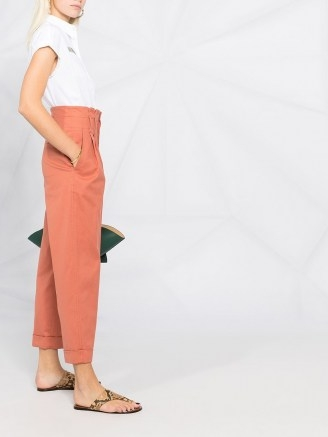 Brunello Cucinelli cropped straight-leg trousers canyon clay orange ~ chic high waist pants