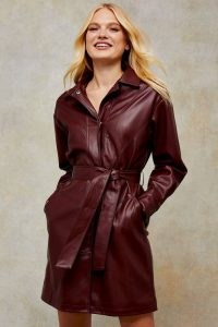Topshop Burgundy PU Longline Belted Shacket – faux leather shackets ~ dark red shirts dresses