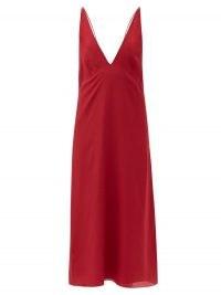 RAEY Bust-cup silk crepe de Chine slip dress – red deep V neck dresses